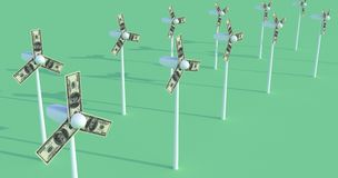 Windmills. Dollars. Money. Energy. 3D images on the theme of business and investment. Windmills. Dollars. Money. Energy Royalty Free Stock Photography