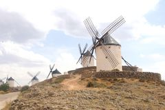 Picturesque windmills of Don Quichot in Consuegra, Spain. Ancient historical windmills of Don Quichot in Castile La mancha, Province Toledo, Spain. Wind energy Stock Photos