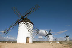 Windmills of Don Quijote. Medieval Windmills of Campo de Criptana, Castilla La Mancha, Spain royalty free stock photo