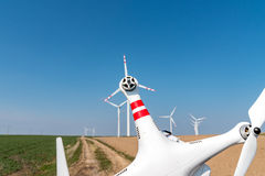 Windmills and drone Royalty Free Stock Photography