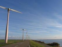 Windmills in Dutch landscape. Windmills in landscape, Nijkerk, Holland stock photo