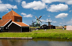 Windmills in Dutch village Royalty Free Stock Photography