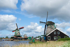 Windmills at Dutch Zaanse Schans Stock Photos