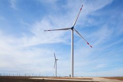 Windmills. For electric power production Royalty Free Stock Image