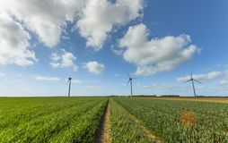 Windmills for electric power production in agricultural fields in Normandy, France. Renewable energy sources, industrial. Agriculture concept. Environmentally Royalty Free Stock Image