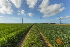 Windmills for electric power production in agricultural fields in Normandy, France. Renewable energy sources, industrial. Agriculture concept. Environmentally Royalty Free Stock Photos
