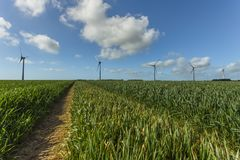 Windmills for electric power production in agricultural fields in Normandy, France. Renewable energy sources, industrial. Agriculture concept. Environmentally Stock Photos