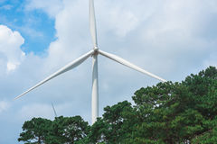 Windmills for electric power production Stock Photos