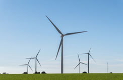Windmills for electric power production, eco power, wind turbine Royalty Free Stock Images