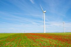 Wind energy concept. Windmills for electric power production, Huesca province, Aragon, Spain Stock Images