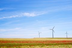 Wind energy concept. Windmills for electric power production, Huesca province, Aragon, Spain Stock Image