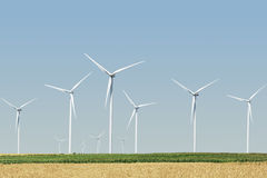 Windmills for electric power. Production nature renewable ecology royalty free stock photos