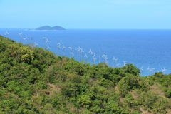Windmills for Electric Power Production near Sea, Koh Larn Pattaya in Thailand. Stock Images
