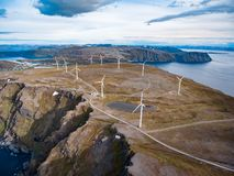 Windmills for electric power production. Arctic View, Havoysund, Northern Norway aerial photography royalty free stock photos
