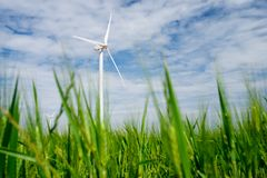 Wind energy concept. Windmills for electric power production, Zaragoza province, Aragon, Spain Stock Images