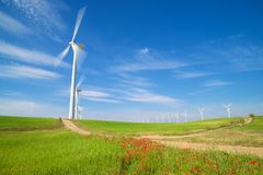 Wind energy concept. Windmills for electric power production, Zaragoza province, Aragon, Spain Stock Photo