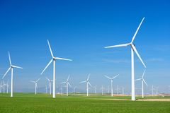 Wind energy concept. Windmills for electric power production, Zaragoza province, Aragon, Spain Stock Image