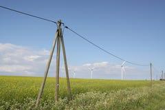 Windmills and electticity stock photo
