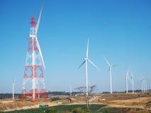 Windmills farm for electric power production, Thailand. Stock Photos