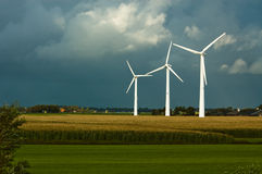Windmills on farmland Royalty Free Stock Images