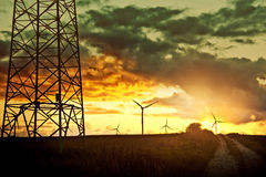 Windmills on the field. Royalty Free Stock Photography