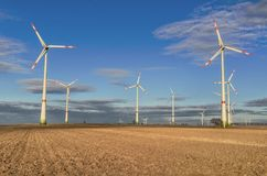 Windmills in the field. In Germany Royalty Free Stock Photo