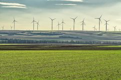 Windmills in the field in Germany. Europe Royalty Free Stock Photography