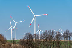Windmills on the field Royalty Free Stock Image