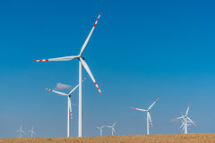 Windmills on the field Stock Image