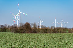 Windmills on the field Royalty Free Stock Photo