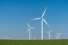 Windmills on the field Stock Photo
