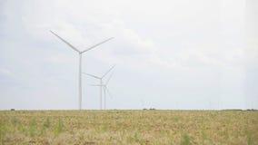 Windmills in a field stock video footage