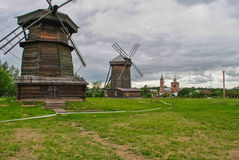 Windmills in the field, Suzdal, Russia Royalty Free Stock Photography