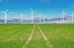 Windmills in the field. In Germany Stock Photos