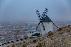 Windmills in the fog in Consuegra town in Spain Stock Photography