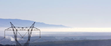 Windmills in the fog, Sierra Nevada, Andalusia Royalty Free Stock Photo