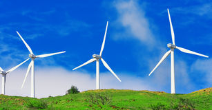 Windmills on Green Hill Stock Images