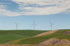 Windmills on Green Hills Stock Image