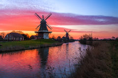 Windmills in Greetsiel stock image