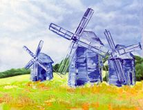 The windmills of happiness. Oil on canvas technique Royalty Free Stock Photography