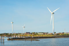 Windmills and harbor Borkum Royalty Free Stock Photo