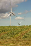 Windmills in Hay Crop Royalty Free Stock Photo