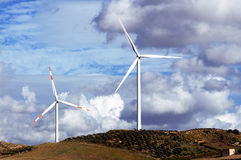 Windmills on a hill Royalty Free Stock Photography