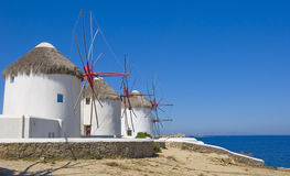 Windmills on a hill near the sea on Mykonos Royalty Free Stock Photo