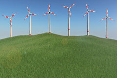 Windmills on a hill Royalty Free Stock Photo