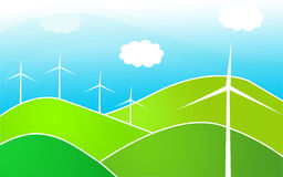 Windmills in the hills. An illustration of wind mills in a valley as alternative energy Stock Photos