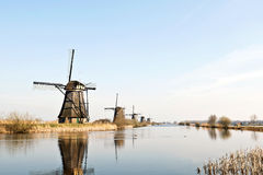 Windmills from Holland. This historic wooden windmills are located at the Kinderdijk in Holland stock image