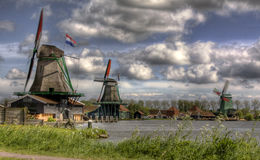Windmills in Holland. Windmills in the landscape of Holland Royalty Free Stock Images