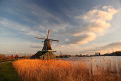 Windmills in Holland with canal Stock Photos
