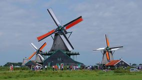 The windmills of Holland - typical landmark in the Netherlands - Amsterdam - The Netherlands - July 19, 2017 stock footage